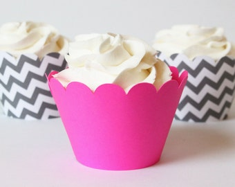 Neon Pink Cupcake Wrappers Grey Chevron Cupcake Liners Hot Pink Party Supplies Cupcake Party Girls Birthday Party Bright Pink / Set of 12