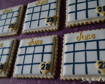 Save The Date Calendar Cookies, Wedding, Anniversary, etc. (1 Dozen)