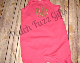 Monogram Bubble, Baby Ruffle Romper, Baby Girl Summer Outfits, Personalized Bubbles