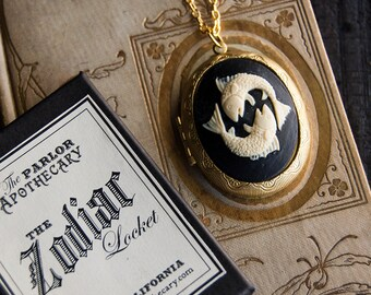 Zodiac Perfume Locket Necklace with Solid Scent - Victorian Gold or Silver Astrology- Choose Your Scent