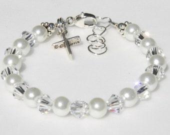 Baby Girl Bracelet Charm Christening, Flower Girl Gift, Baptism, Every Day