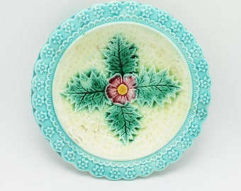 Majolica Flower and Leaves Antique Small Sauce Dish