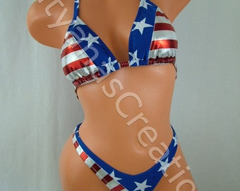 Miss Captain America Two - Piece Figure Suit, B cup, Small Bottom.