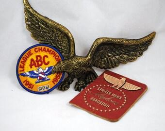 Brass American Eagle, Eagle Bowling Patch , Service Men's Telephone Book/ World War II, Patriotic Vintage Memorabilia , Memorial Day, July 4