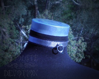 "Shiny Silver Brocade Lockable Collar- In Stock, 12"" Ready to Ship :) - Absolute Devotion"