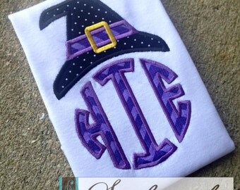 Witch Hat Monogrammed Initial Shirt - You Customize