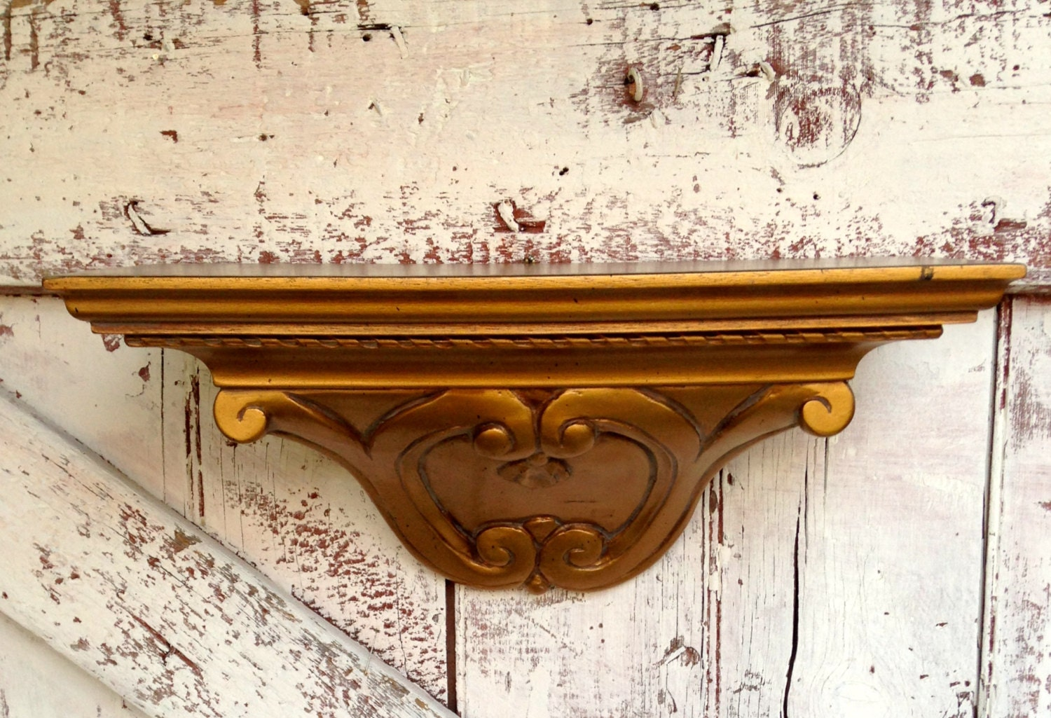 Vintage Gold Shelf Wall Hanging Knick Knack By