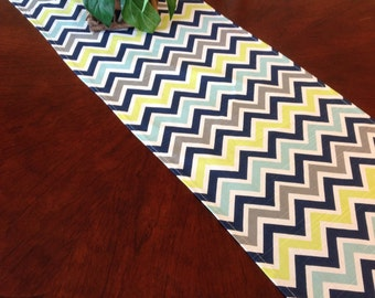 Table Runner - Grey, Citrine, White, Blue and Navy Blue Chevron Table Runners - Chevron Table Runners Weddings or Home Decor - Select A Size