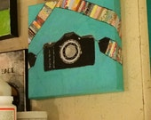 Camera art, camera painting, collage camera, camera strap, colorful camera, acrylic camera