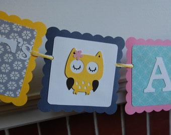 Owl It's A Girl Banner, Owl Baby Shower Banner, Owl Theme, Owl Banner, Girl Baby Shower