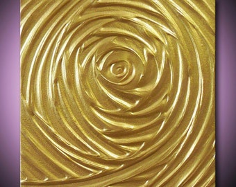 HUGE 40%off SALE Painting Gold Abstract Acrylic Sculpture Metallic Yellow Abundant Vortex of Creation 12x12 High Quality Original Modern Art