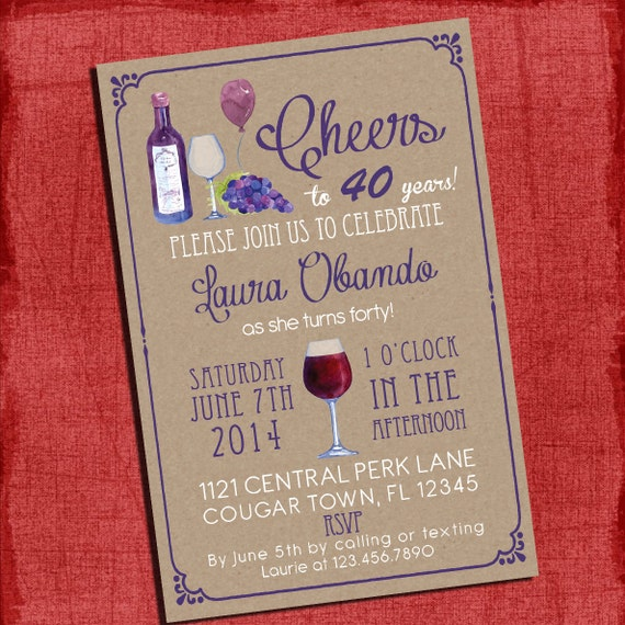Printable Wine Theme 30th, 40th, 50th, 60th Birthday