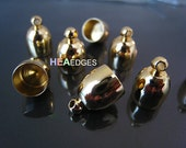 4pcs Gold End Caps 8mm - Findings Gold Plated Bullet Kumihimo Dome Shape Large Leather Cord Ends Cap with Loop 14mm x 10mm