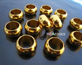 Finding - 6 pcs Gold Round Ball Spacers Beads Jump Ring with Extra Very Large Hole 13.5mm x 7mm ( inside 9mm Diameter )
