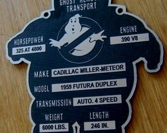 Custom GHOSTBUSTERS ECTO-1 Specifications Serial Data Plate