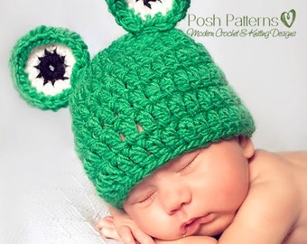 Crochet PATTERN - Crochet Hat Pattern - Crochet Frog Hat Pattern - Baby Frog Hat Pattern - PDF 157 - Includes 3 Sizes - Photo Prop Pattern