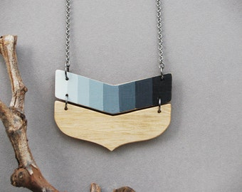 Black Gray Chevron Necklace Eco Friendly Wood Necklace Geometric  Necklace