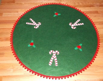 48 in. Felt Christmas Tree Skirt, Kelly Green Candy Canes and Holly Leaves