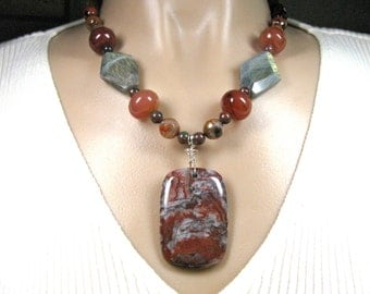 Red necklace, Crazy Lace Agate, Labradorite, Jade, faceted Agate, beaded necklace, gemstones 280