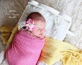 Stretch wrap - 'BRIGHT PINK' newborn stretch wrap  / scarf - prop blanket - knitbysarah - Stitches by Sarah