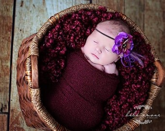 Stretch wrap - 'BURGUNDY' newborn stretch wrap  / scarf - prop blanket - knitbysarah - Stitches by Sarah
