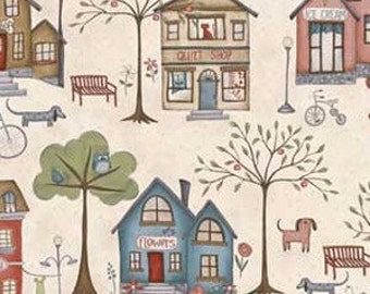 Red Rooster Fabric  - All Around the Town - Whimsicals by Teri Degenkolb