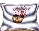 "shabby chic, feed sack, french country, navy & cream ticking stripe nautilus shell and coral 12"" x 16"" pillow sham."