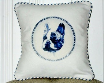 "shabby chic, feed sack, french country, delft French Bulldog graphic with ticking stripe welting 14"" x 14"" pillow sham."