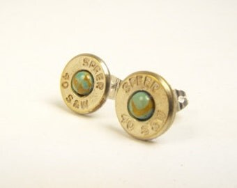 Bullet earrings Turquoise and nickel plated brass post earrings
