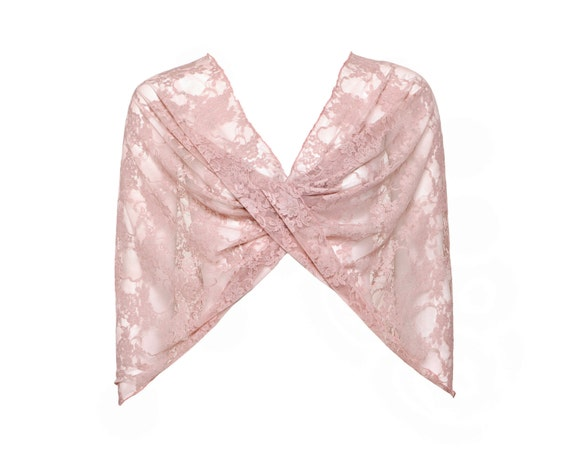 Dusty rose lace shawl (4 options top- shrug , shawl , scarf , twist ) Dust rose  (CL113/ps)