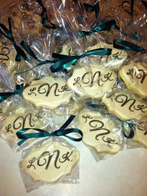 Items similar to simple elegant monogram wedding cookies one dozen on