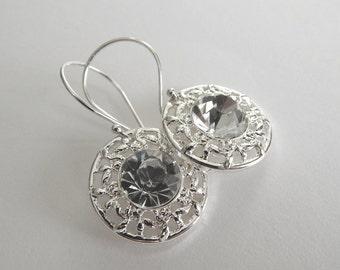 Bridal Jewelry, Crystal Rivoli Drop, Wedding Earrings, Sterling Silver Dangle Earrings