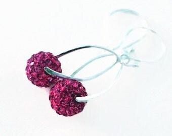 Pave  Drop Earrings , Wedding Jewelry, Sterling Silver Swarovski Crystal Dangle Earrings