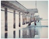 Ocean photograph - pier photograph - beach art print - beach home decor - venice beach pier - california art print - metallic print