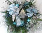 25%SALE XL Blue &Silver Christmas Wreath