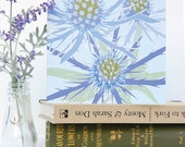 Blue Eryngium Birthday card - blank, sculptural, floral, gardeners
