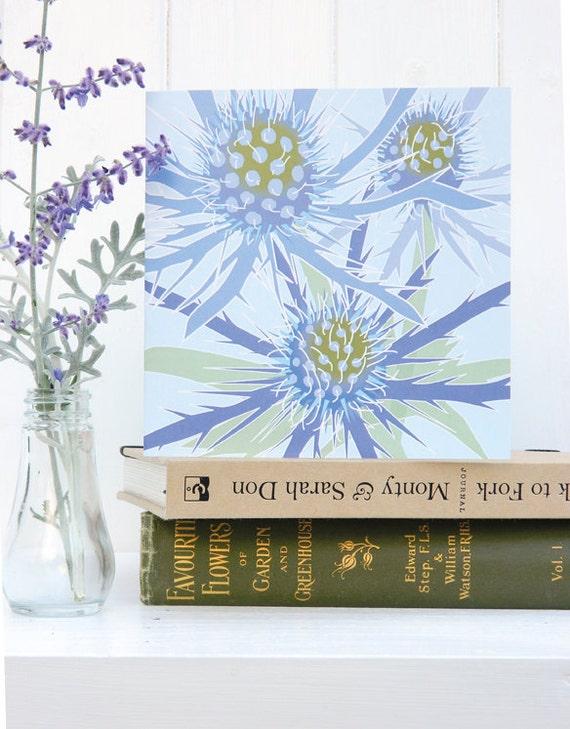 Blue Eryngium Christmas card - blank, sculptural, floral, gardeners