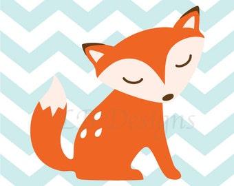 Orange and Baby Blue Fox Nursery Art, Woodland Nursery Decor - 8x10