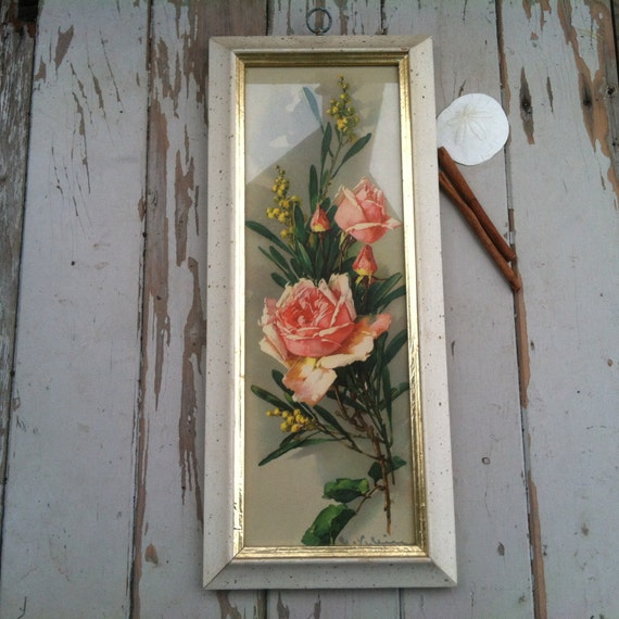 Shabby Cottage Chic Nest Prints Home Decor Wall Art ~ Vintage shabby chic rose print with wood frame antique wall
