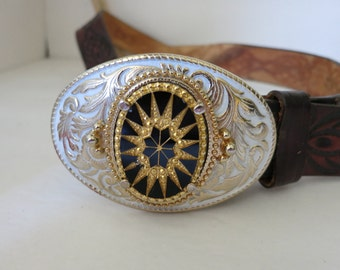 Buckle,Enameled,Incised Glass Cameo,Gold Plated Fancy Design