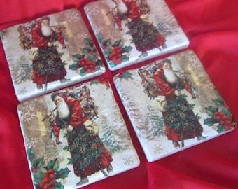 Christmas Old World Santa Coasters, Christmas Ceramic Coasters,  Ceramic Coasters, Table Coasters, Gift