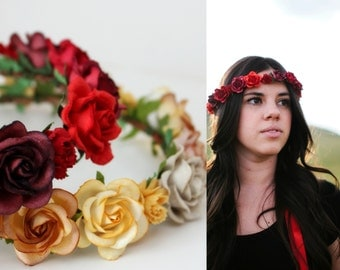 Red Floral Crown, Wedding, Rustic, Bridal Headpiece, red wedding, bridesmaids, Hair Accessories, flower crown, boho, bridal hair