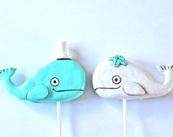 Whales in Love wedding cake topper