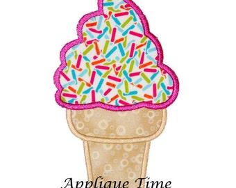 Instant Download Soft Serve Ice Cream Cone Machine Embroidery Applique Design 3 sizes
