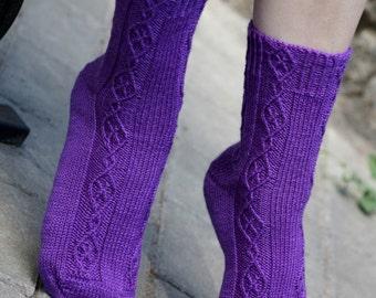 Hand Knit women Socks merino wool purple