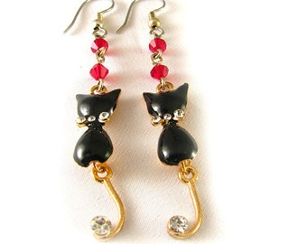 "Black Cat Earrings 2.5"" long with red crystals and rhinestones"