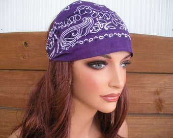 Fabric Headband - Women's Headband - Fashion Accessories Women - Headwrap Bandana in Dark purple with Paisley print