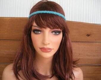 Womens Headband Boho Headband Hippie Fashion Accessories Women Hair Band Forehead Headband in Aqua blue braid trim - Choose color