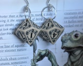 Dice Earrings, Ten Sided Die, D10, Steampunk, Ivory Colored, Dungeons and Dragons