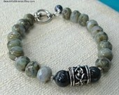 Lovely Grey and Blue Czech Glass Beads with Silver Focal Bead and Toggle Clasp